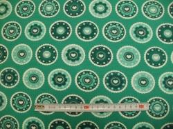 Látky Patchwork - JERSEY - mandely smaragdové