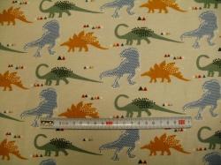 Látky Patchwork - JERSEY -  dinosauři na sv. šedé