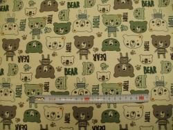 Látky Patchwork - JERSEY -  medvídci zelení
