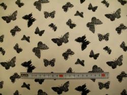 vzor 129082-3003 JERSEY -  motýli na bílé - EKO TEX  třída 1  - do 3 let