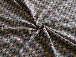 Látky Patchwork - Čtverečky na khaki