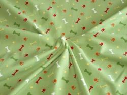 Látky Patchwork - Kosti na zelené