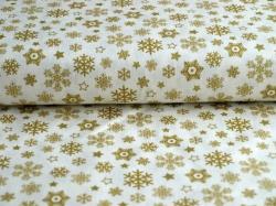 Látky Patchwork - Vánoční vločky na bílé
