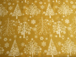 Látky Patchwork - Vánoční stromky na okrové