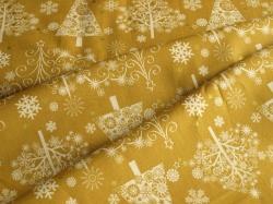 42381M-2 Vánoční stromky na okrové -