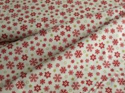 Látky Patchwork - Vánoční vločky červené na bílé