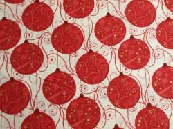 Látky Patchwork - Vánoční baňky červené na bílé