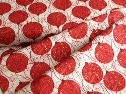 42378M-1 Vánoční baňky červené na bílé -