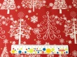 Látky Patchwork - Vánoční stromky na červené