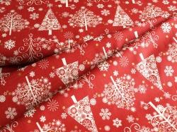42381M-1 Vánoční stromky na červené -