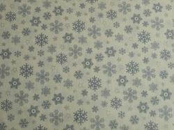 Látky Patchwork - Vánoční vločky šedé na bílé