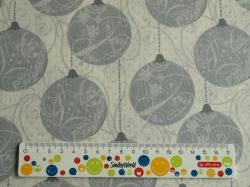 Látky Patchwork - Vánoční baňky šedé na bílé