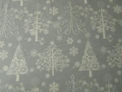 Látky Patchwork - Vánoční stromky na šedé