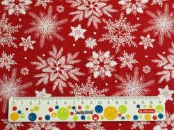 Látky Patchwork - Vánoční vločky bílé na červené