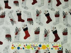 Látky Patchwork - Vánoční punčochy na bílé