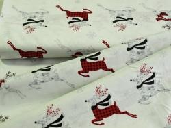 Látky Patchwork - Vánoční sobi na bílé