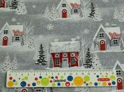 Látky Patchwork - Vánoční domečky na šedé