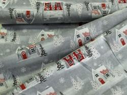 4790-416 Vánoční domečky na šedé -