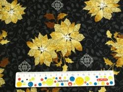 Látky Patchwork - Vánoční hvězda na černé