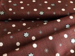 4593-008 Vánoční vločky na tm. hnědé - Se stříbrnými prvky