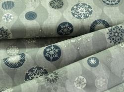 Látky Patchwork - Vánoční vločky na šedé