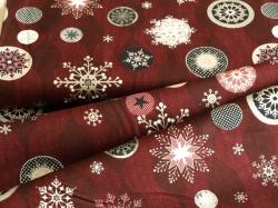 4593-004 Vánoční vločky na tm. červené - Se stříbrnými prvky