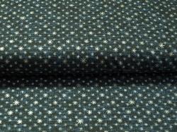 Látky Patchwork - Vánoční hvězdičky na tmavě modro-černé