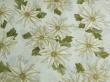 Látky Patchwork - Vánoční hvězda na bílé - zlatotisk