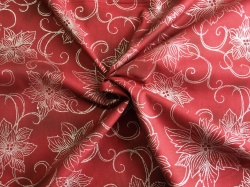 Látky Patchwork - Vánoční hvězda na vínově červené