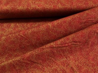 Látky Patchwork - Tečky na tmavě červené - zlatotisk
