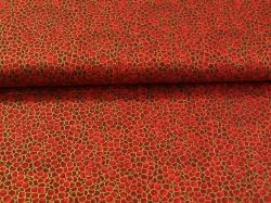 Látky Patchwork - Červená kolečka - zlatotisk