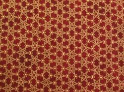 Látky Patchwork - Hvězdičky na tmavě červené - zlatotisk