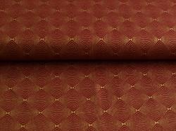 Látky Patchwork - Ornamenty na tmavě červené - zlatotisk