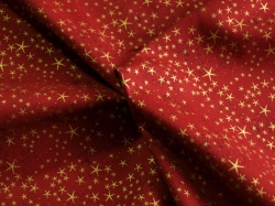 Látky Patchwork - Zlaté hvězdičky na červené - zlatotisk