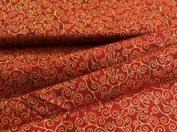 4593-420 Ornamenty na tmavě červené - zlatotisk -