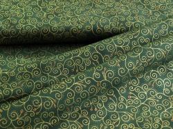 4593-807 Ornamenty na lahvově zelené - zlatotisk -