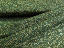 Látky Patchwork - Ornamenty na lahvově zelené - zlatotisk
