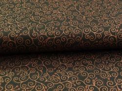 Látky Patchwork - Ornamenty na černé - zlatotisk