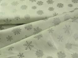 4593-120 Vánoční vločky na bílé - stříbrotisk -
