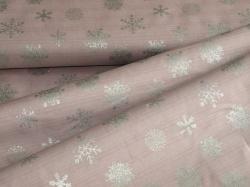 4593-407 Vánoční vločky na fialové - stříbrotisk -