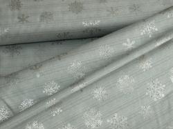 4593-909 Vánoční vločky na šedé - stříbrotisk -