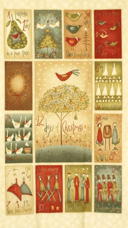 Látky Patchwork - Panel 12 dní do vánoc