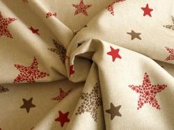 Látky Patchwork - Hvězdy na přírodním podkladu