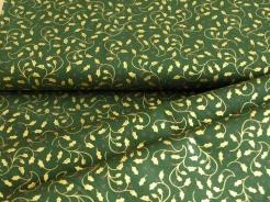 123813-5031 Zlaté lístečky na tmavě zeleném podkladu -