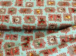 126751-5030 Vánoční motivy na světle modrém podkladu -