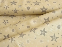 Látky Patchwork - Vánoční hvězdy na smetanovém podkladu