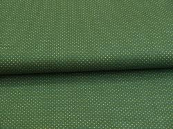 Látky Patchwork - Zlaté tečky na tmavě zeleném podkladu