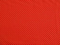 Látky Patchwork - Zlaté tečky na červeném podkladu