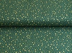Látky Patchwork - Zlaté hvězdičky na tmavě zeleném podkladu
