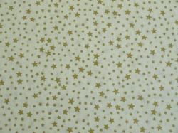 Látky Patchwork - Zlaté hvězdičky smetanovém podkladu